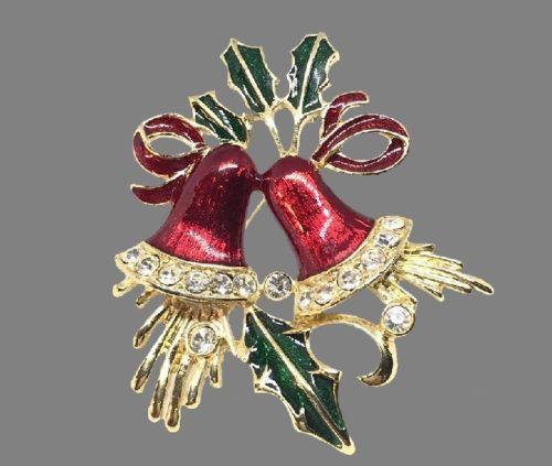 Jingle Bells brooch. Enamel, gold tone, rhinestones