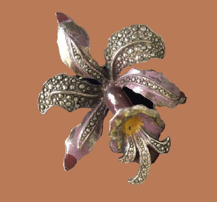 Orchid vintage brooch. Silver, enamel. 5 cm. 1969