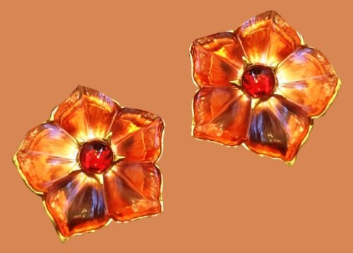 Kenzo vintage clips from a rare collection of lucite flowers, jewelry alloy, glass, gold-plated