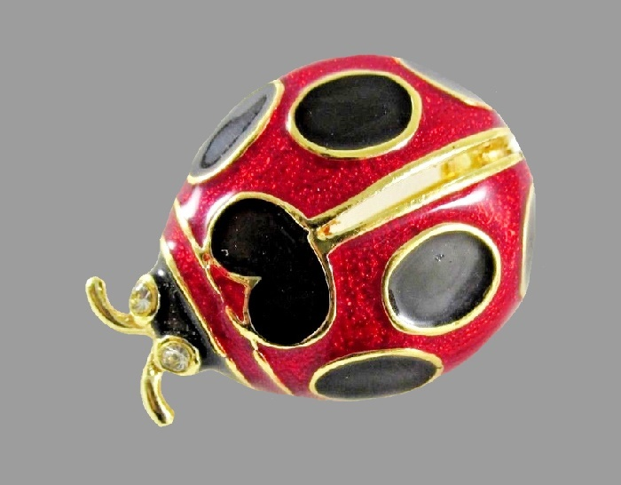 Ladybug brooch of red and black enamel, jewelry alloy