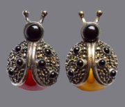 Ladybug. Silver vintage doubles brooches. Enamel Marcasite. 2.8 cm