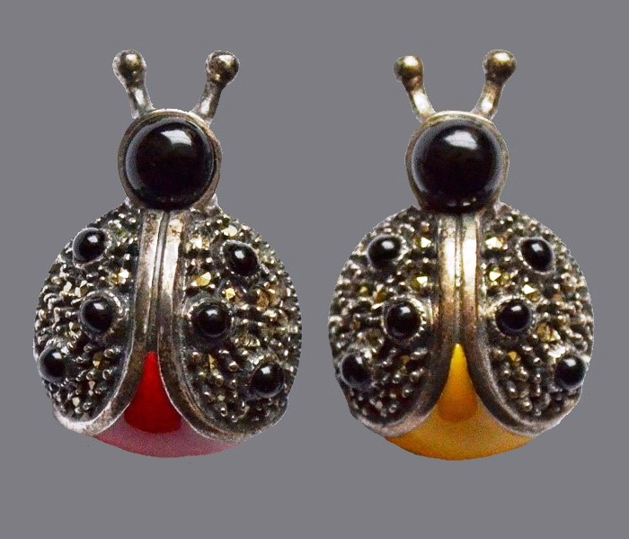 Ladybug. Silver vintage doubles brooches. Enamel Marcasite. 2.8 cm