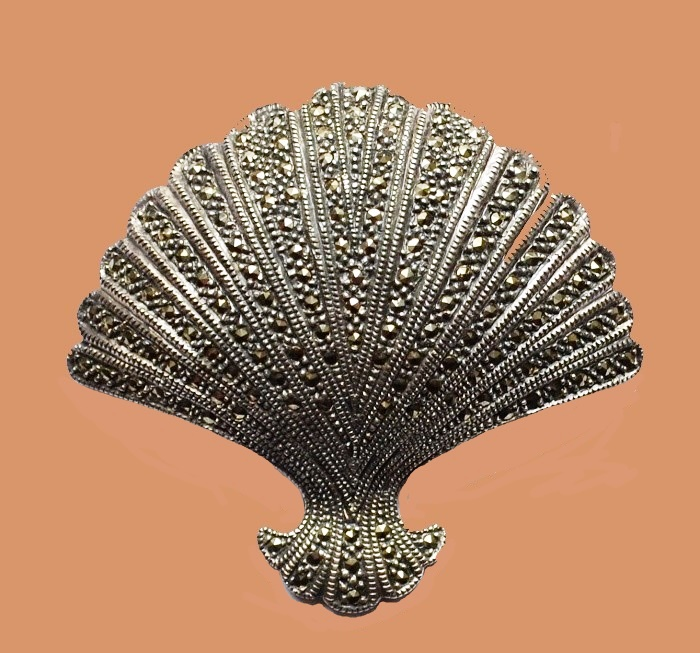 Large brooch. Marcasite, silver 925. 6.3 cm