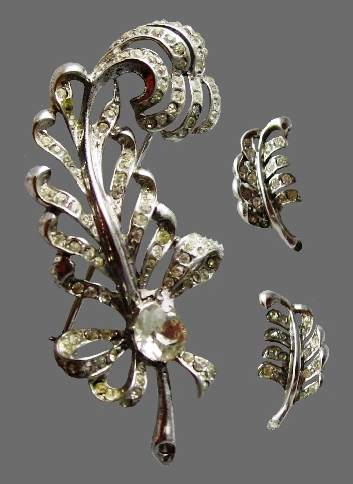 Leaf set of pin and clip on earring. Rhodium plated sterling silver, rhinestones