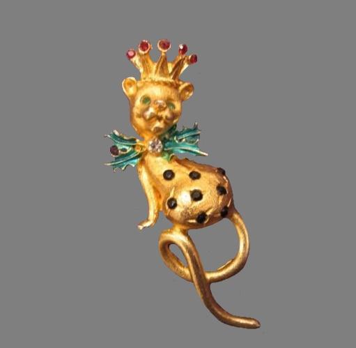 Leopard Christmas goldtone pin