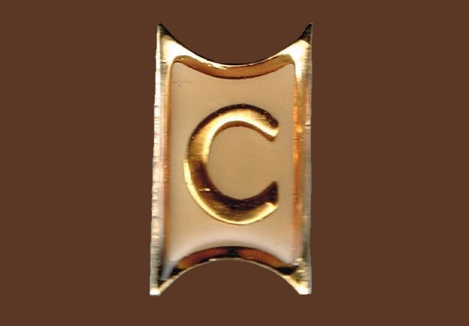 Letter 'C' enameled gold tone brooch
