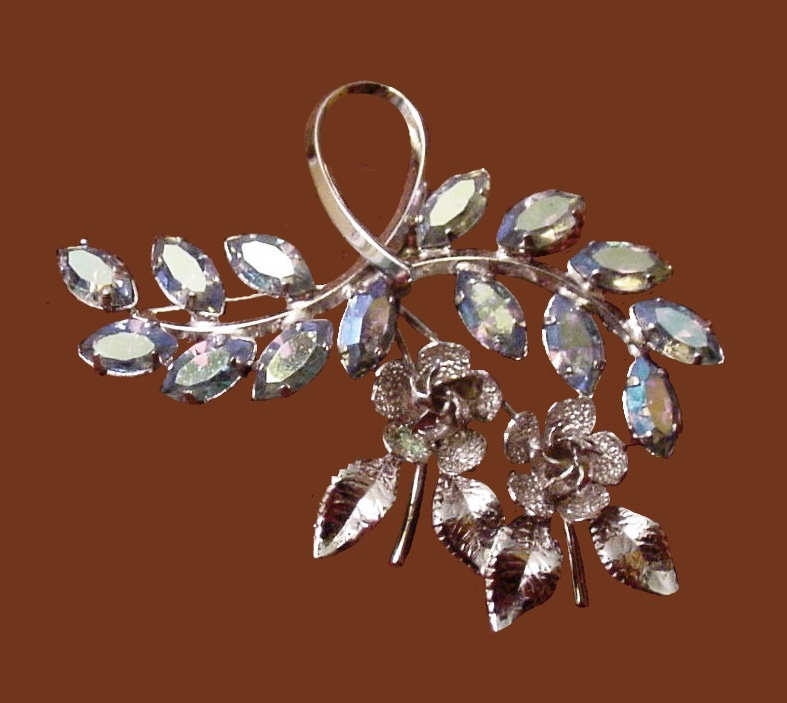 Light Blue Rhinestone sterling silver flower brooch