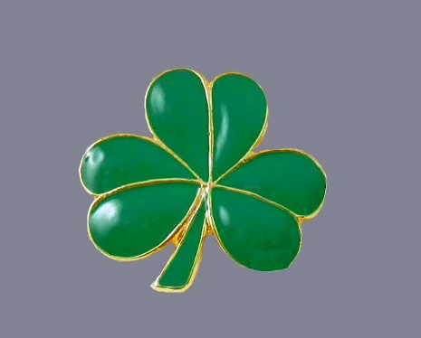 Lucky Clover green enamel brooch