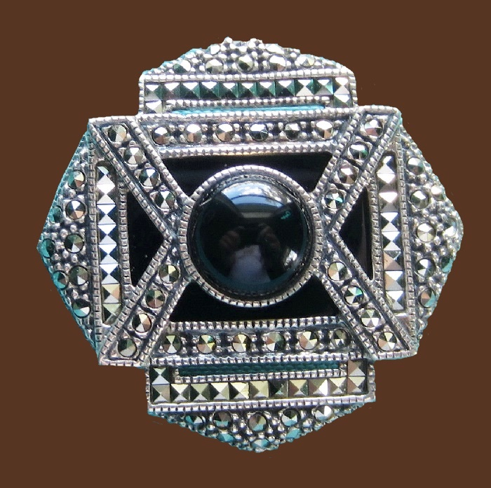 Made of marcasite and sterling silver brooch