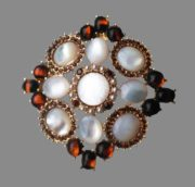 Maltese cross brooch pendant. Jewelry alloy, pearls, crystals, cabochons. 7 cm
