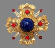 Maltese cross brooch, signed Mandle. Jewelry alloy of gold tone, rhinestones, cabochons
