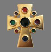 Maltese cross vintage brooch. Jewelry alloy, enamel. 7 cm