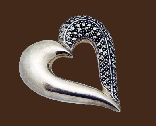 Marcasite Large Heart Pin Brooch in Sterling Silver
