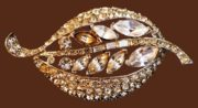 Marquis Stones Rhodium plated leaf brooch with rhinestones. 1950s