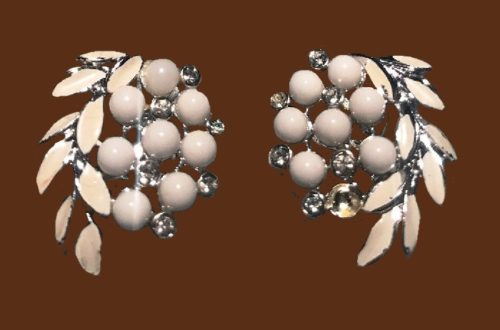 Milk glass and rhinestone clip earrings