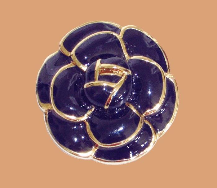 Navy Blue Enameled Gold Camellia Brooch