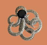 Octopus brooch. Onyx, marcasite, sterling silver