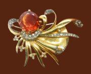 Octopus like amber glass and rhinestone brooch