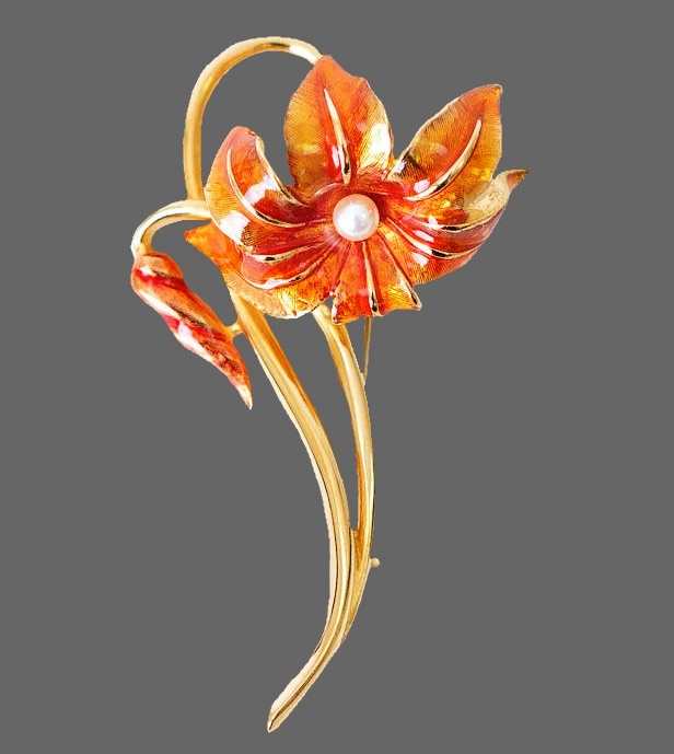 Orange color flower brooch. Jewelry alloy, enamel