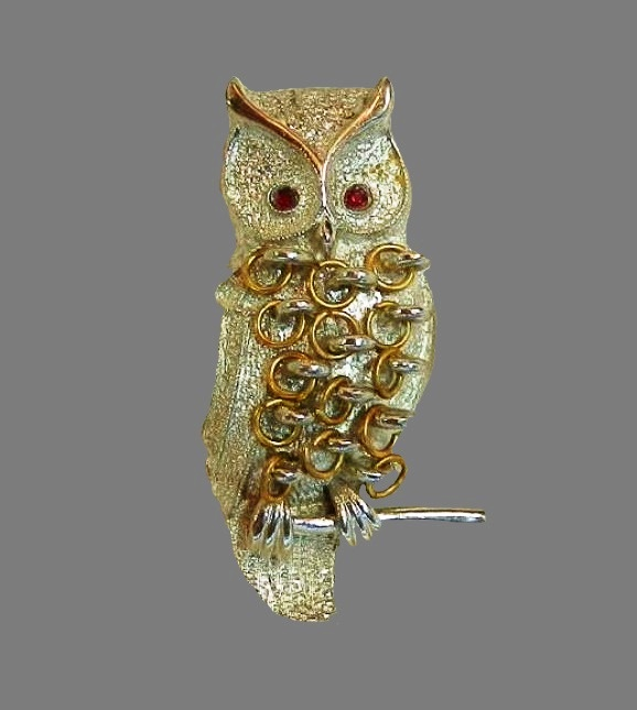 Owl brooch. Rhinestones, jewelry alloy, 1960s, signed Mandle