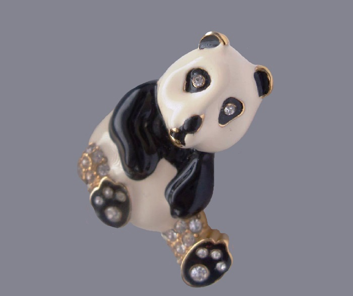 Panda brooch. Jewelry alloy of gold tone, white and black enamel, transparent crystals. 3.6 cm