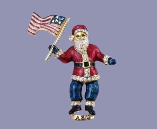 Patriotic Santa Claus brooch. Jewelry alloy, rhinestones, enamel