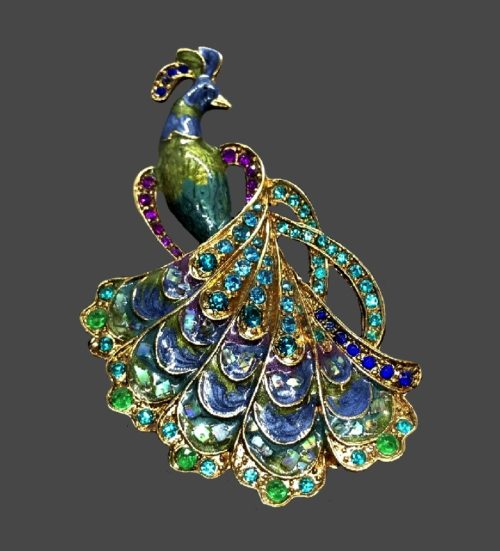 Peacock brooch. Jewelry alloy, rhinestones, enamel