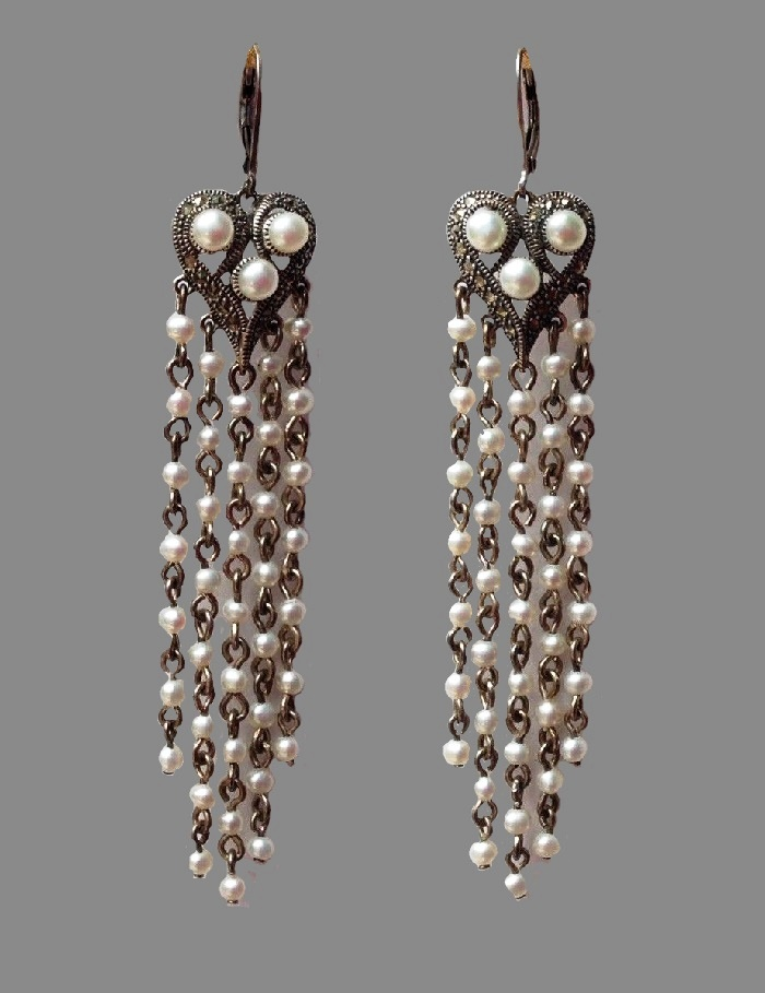 Pearl and silver chandelier earrings