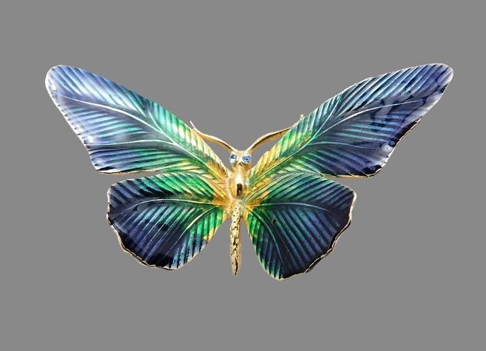 Pearlish enamel Butterfly brooch