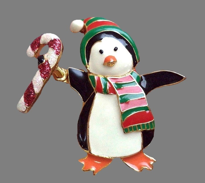 Penguin Christmas enameled brooch