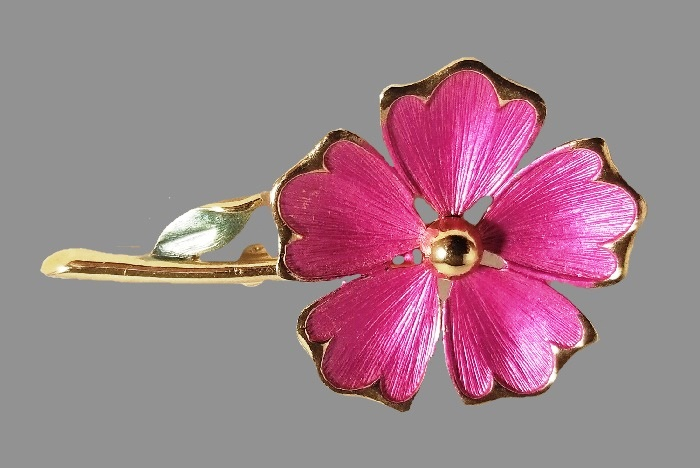 Pink flower brooch. Silver and gold tone metal, enamel
