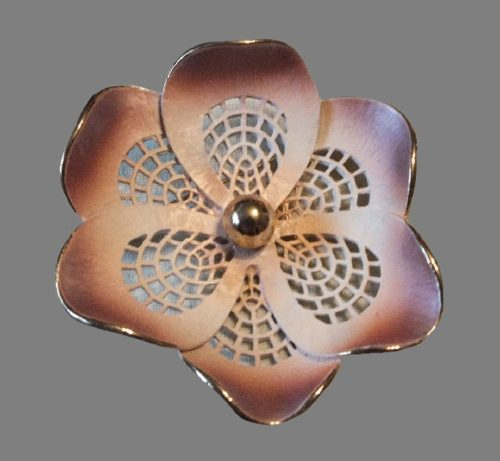 Pink flower enameled brooch