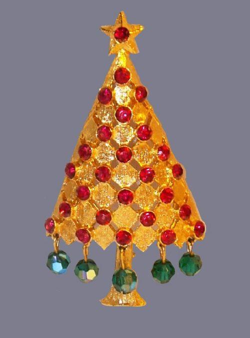 Pink rhinestone crystal dange Christmas Tree brooch