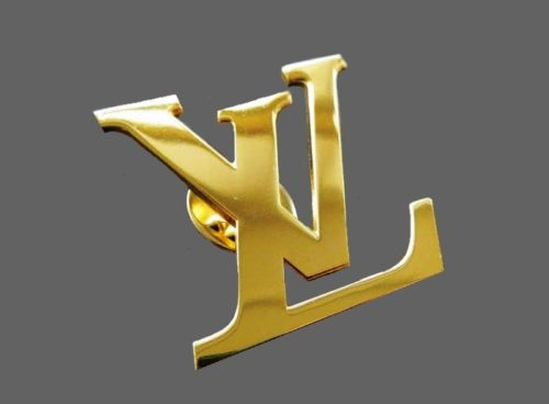 Plated in 24 karat gold LV brand brooch badge