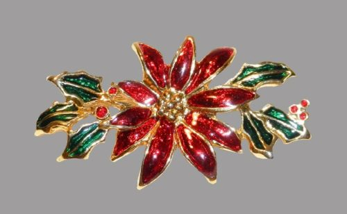 Poinsettia Christmas brooch, gold tone, enamel