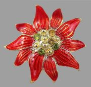 Poinsettia enameled gold tone brooch