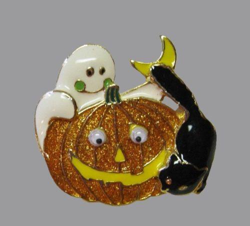 Pumpkin, black cat and ghost Halloween brooch