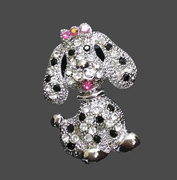 Puppy with pink bow brooch. Genuine Austrian crystals