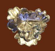 Purple Flower vintage brooch, jewelry alloy of silver tone, enamel