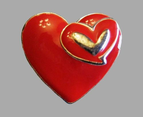 Red Enameled Trembler Heart brooch