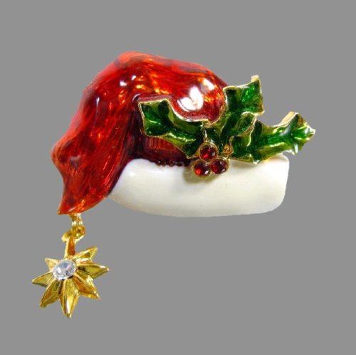 Red enameled Santa's hat brooch