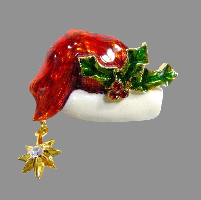 Red enameled Santa's hat brooch