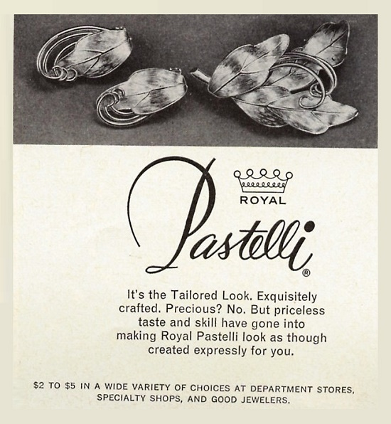 Retro ads promoting Pastelli jewelry