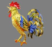 Rooster enameled brooch. Signed Mandle. Jewelry alloy