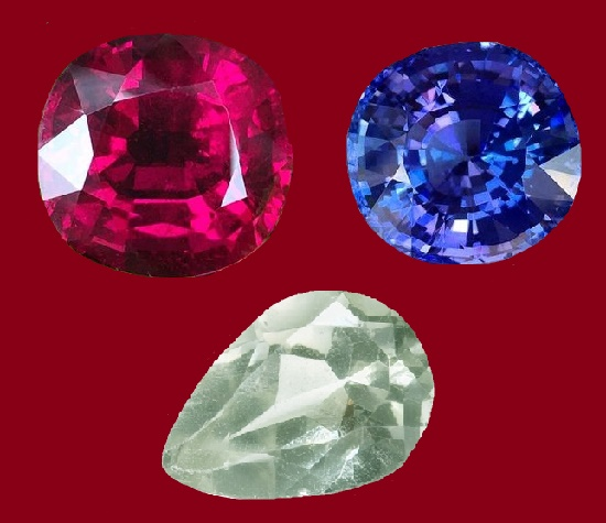 Ruby, sapphire and emerald