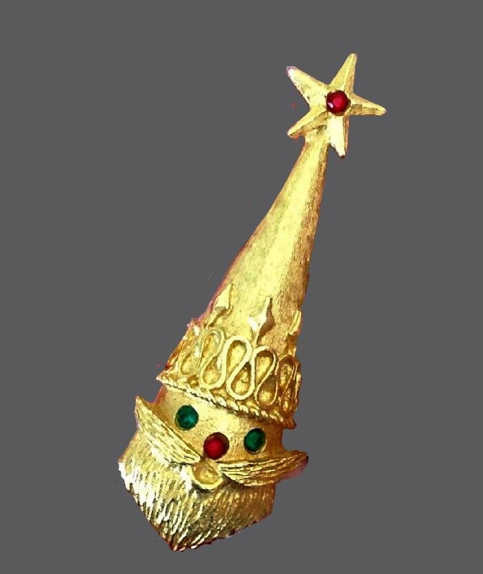 Santa Claus Xmas pin. Gold tone, rhinestones