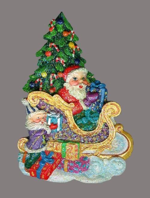 Santa Sleigh Christmas Tree enameled brooch