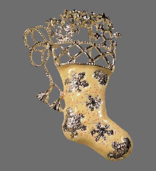 Shiny Brite Christmas Stocking brooch
