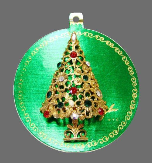 Signed Mylu N.Y.C Christmas tree brooch on original card