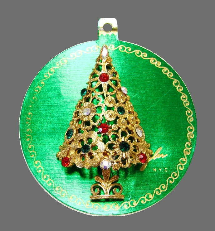 Signed Mylu N.Y.C Christmas tree brooch on original card